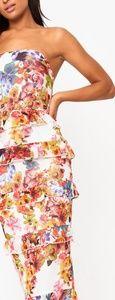 White Floral Ruffle Midi Dress